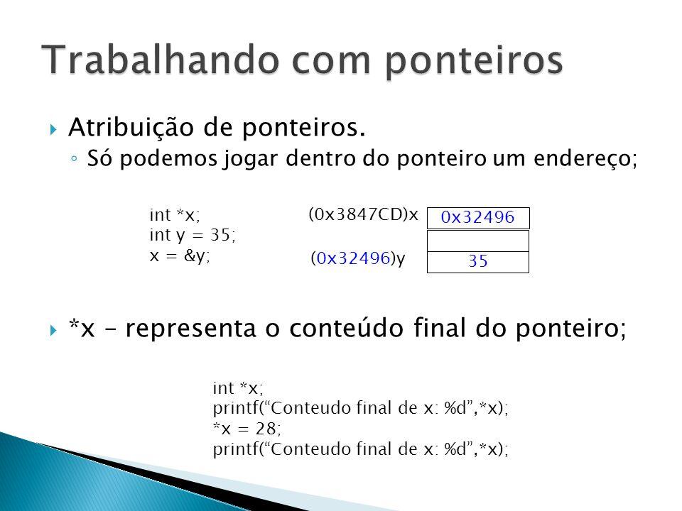 Atribuição de ponteiros. Só podemos jogar dentro do ponteiro um endereço; *x – representa o conteúdo final do ponteiro; 0x32496 (0x3847CD)x int *x; in