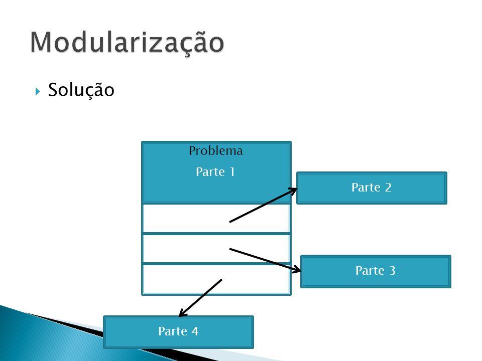 Solução Parte 1 Parte 2 Parte 3 Parte 4 Subprograma 1 Subprograma 2 Subprograma 3 Subprograma 4 Programa