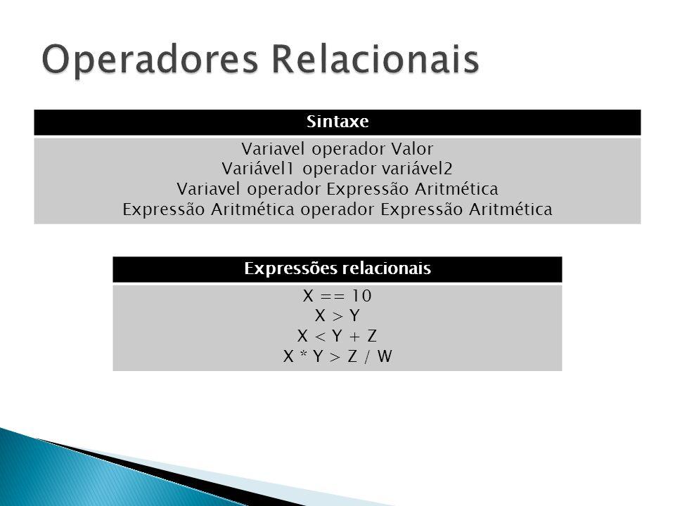 Sintaxe Variavel operador Valor Variável1 operador variável2 Variavel operador Expressão Aritmética Expressão Aritmética operador Expressão Aritmética