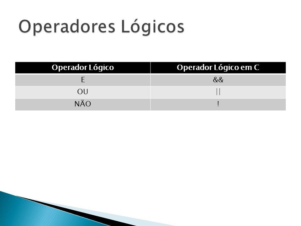 Operador LógicoOperador Lógico em C E&& OU|| NÃO!
