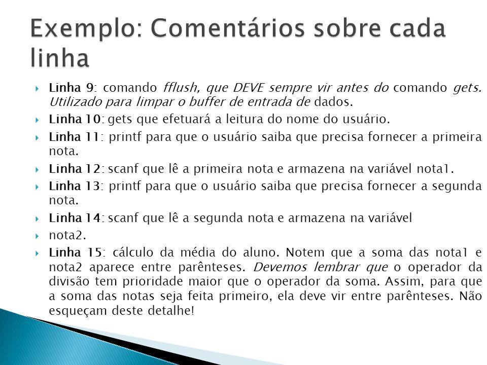 Linha 9: comando fflush, que DEVE sempre vir antes do comando gets. Utilizado para limpar o buffer de entrada de dados. Linha 10: gets que efetuará a