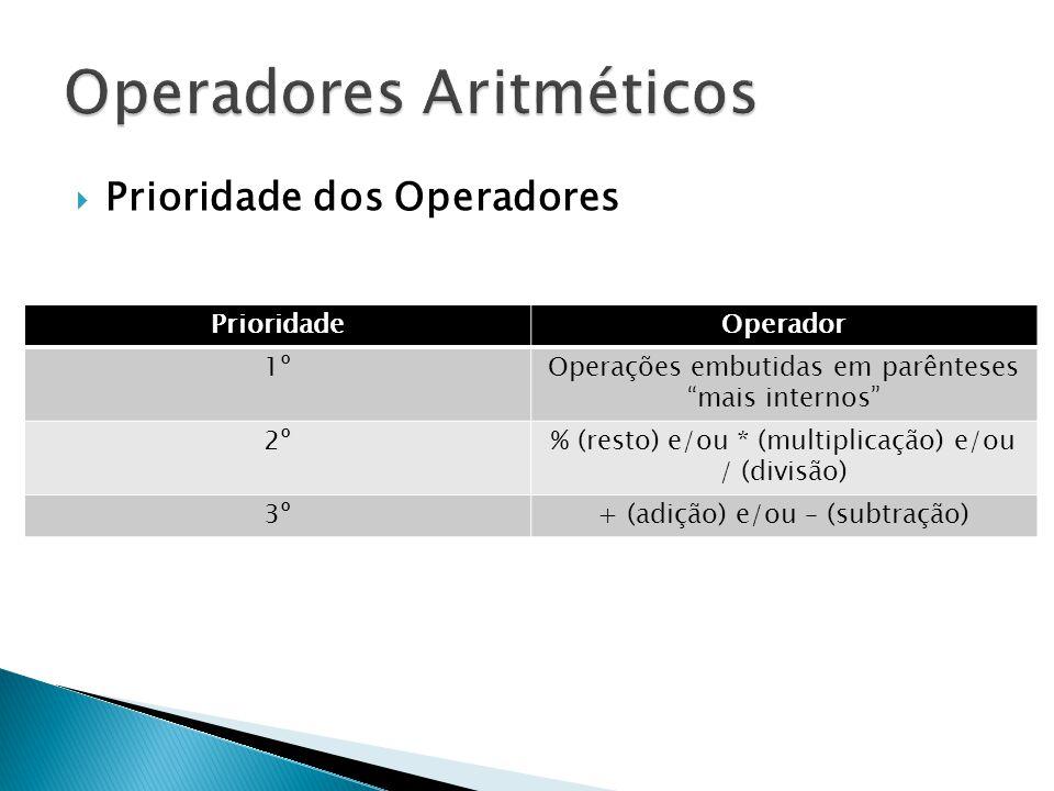 Prioridade dos Operadores PrioridadeOperador 1ºOperações embutidas em parênteses mais internos 2º% (resto) e/ou * (multiplicação) e/ou / (divisão) 3º+