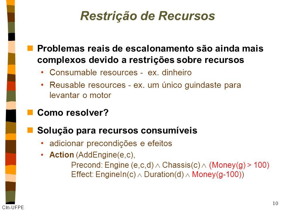 CIn-UFPE 10 Restrição de Recursos nProblemas reais de escalonamento são ainda mais complexos devido a restrições sobre recursos Consumable resources - ex.