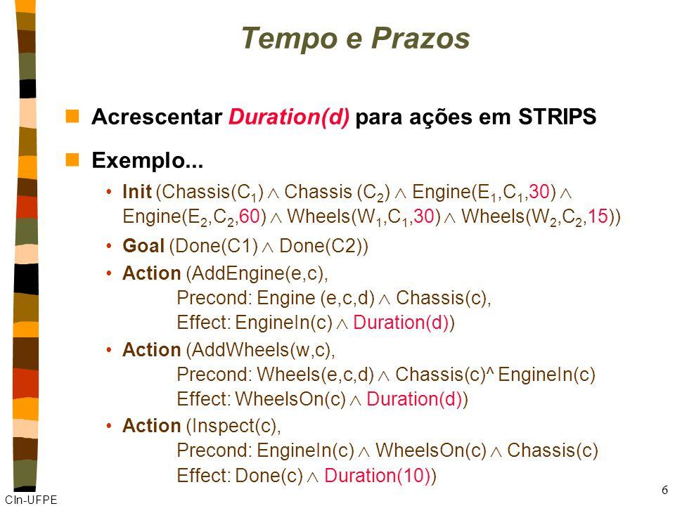 CIn-UFPE 6 Tempo e Prazos nAcrescentar Duration(d) para ações em STRIPS nExemplo...