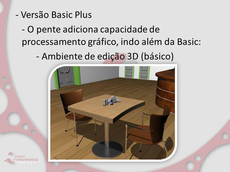 - O pente adiciona capacidade de processamento gráfico, indo além da Basic: - Ambiente de edição 3D (básico)