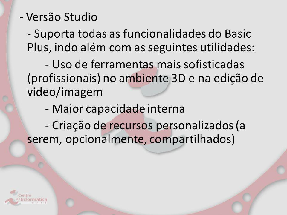 - Versão Studio - Suporta todas as funcionalidades do Basic Plus, indo além com as seguintes utilidades: - Uso de ferramentas mais sofisticadas (profi