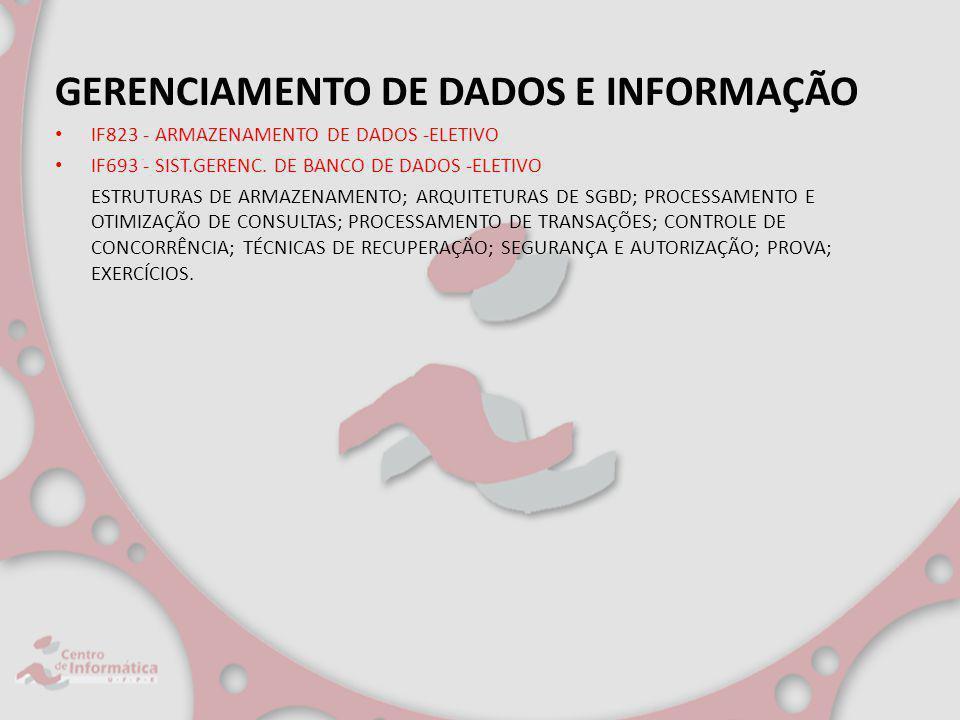 GERENCIAMENTO DE DADOS E INFORMAÇÃO IF823 - ARMAZENAMENTO DE DADOS -ELETIVO IF693 - SIST.GERENC. DE BANCO DE DADOS -ELETIVO ESTRUTURAS DE ARMAZENAMENT