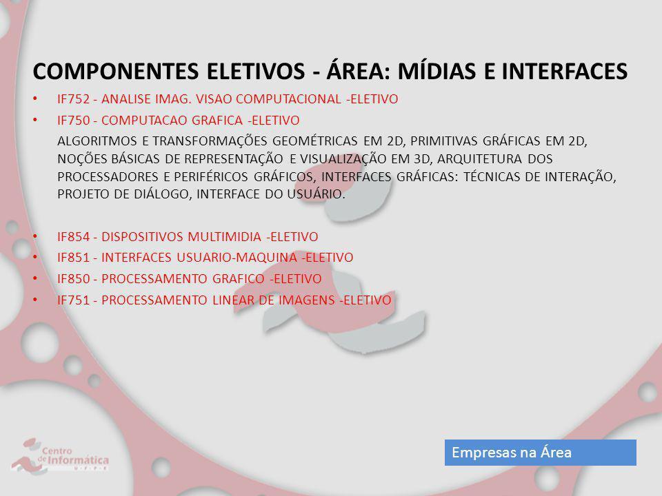 COMPONENTES ELETIVOS - ÁREA: MÍDIAS E INTERFACES IF752 - ANALISE IMAG. VISAO COMPUTACIONAL -ELETIVO IF750 - COMPUTACAO GRAFICA -ELETIVO ALGORITMOS E T