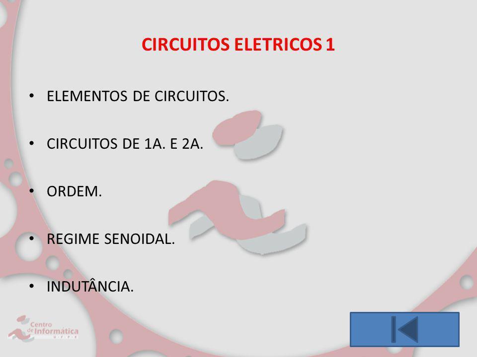CIRCUITOS ELETRICOS 1 ELEMENTOS DE CIRCUITOS. CIRCUITOS DE 1A. E 2A. ORDEM. REGIME SENOIDAL. INDUTÂNCIA.