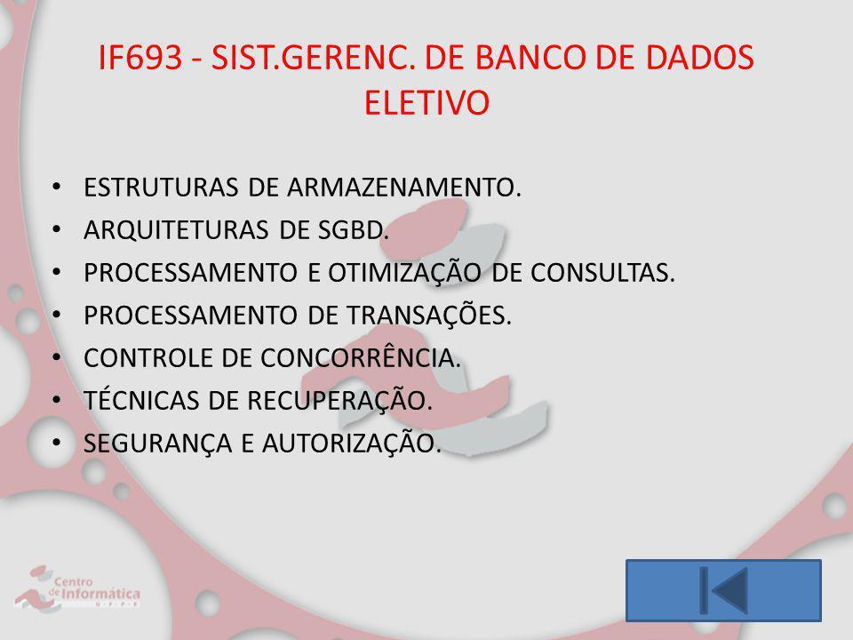 IF693 - SIST.GERENC. DE BANCO DE DADOS ELETIVO ESTRUTURAS DE ARMAZENAMENTO. ARQUITETURAS DE SGBD. PROCESSAMENTO E OTIMIZAÇÃO DE CONSULTAS. PROCESSAMEN