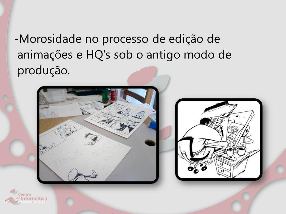 -Morosidade no processo de edição de animações e HQs sob o antigo modo de produção.