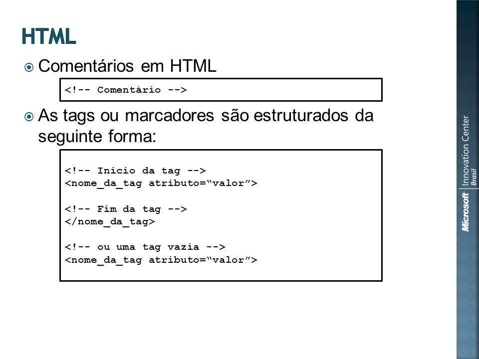 Comentários em HTML As tags ou marcadores são estruturados da seguinte forma: