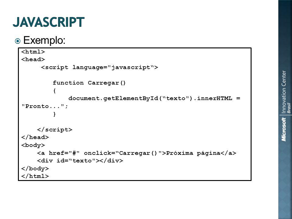 Exemplo: function Carregar() { document.getElementById(texto ).innerHTML = Pronto... ; } Próxima página