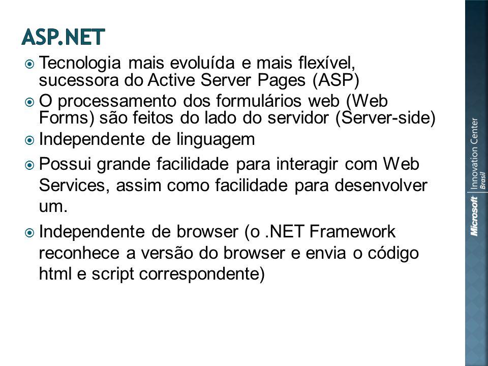 Tecnologia mais evoluída e mais flexível, sucessora do Active Server Pages (ASP) O processamento dos formulários web (Web Forms) são feitos do lado do servidor (Server-side) Independente de linguagem Possui grande facilidade para interagir com Web Services, assim como facilidade para desenvolver um.