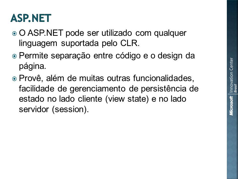 O ASP.NET pode ser utilizado com qualquer linguagem suportada pelo CLR.