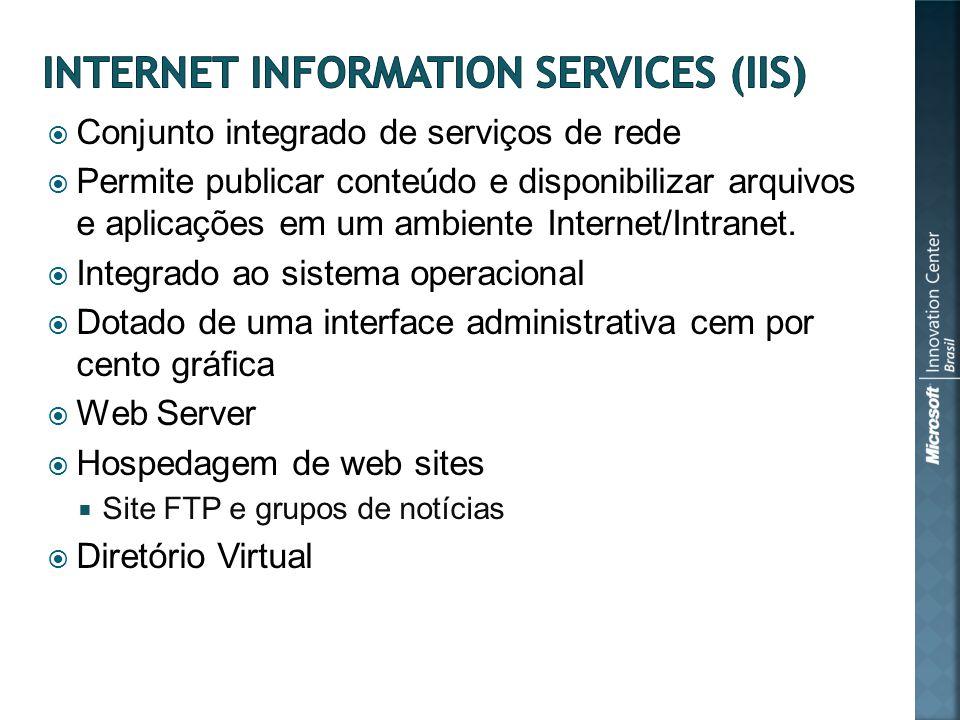 Conjunto integrado de serviços de rede Permite publicar conteúdo e disponibilizar arquivos e aplicações em um ambiente Internet/Intranet.