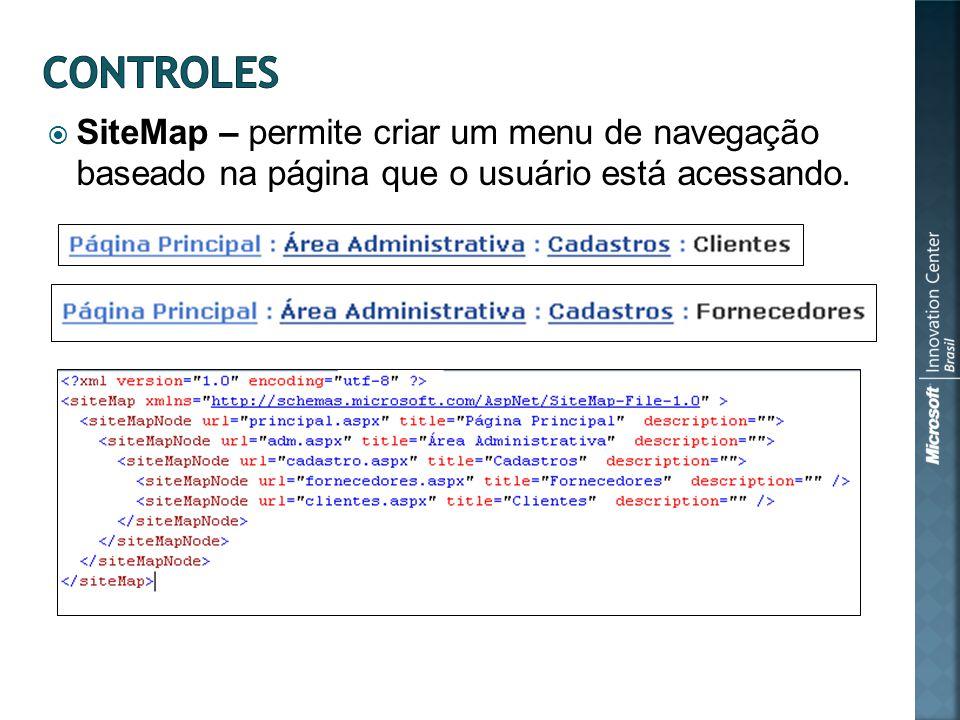 SiteMap – permite criar um menu de navegação baseado na página que o usuário está acessando.