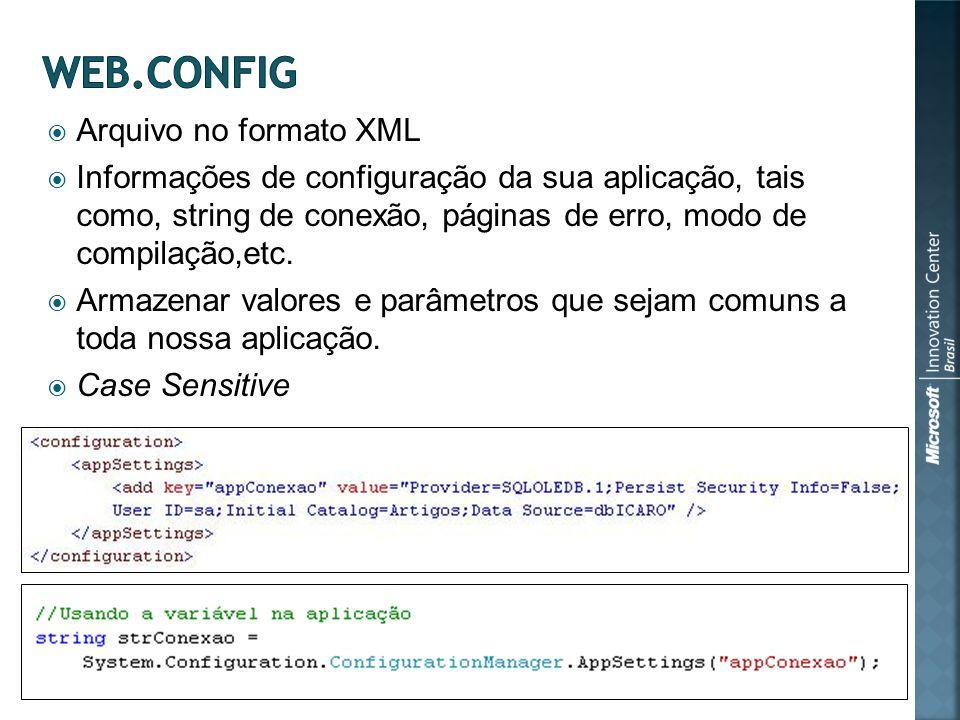 Arquivo no formato XML Informações de configuração da sua aplicação, tais como, string de conexão, páginas de erro, modo de compilação,etc.