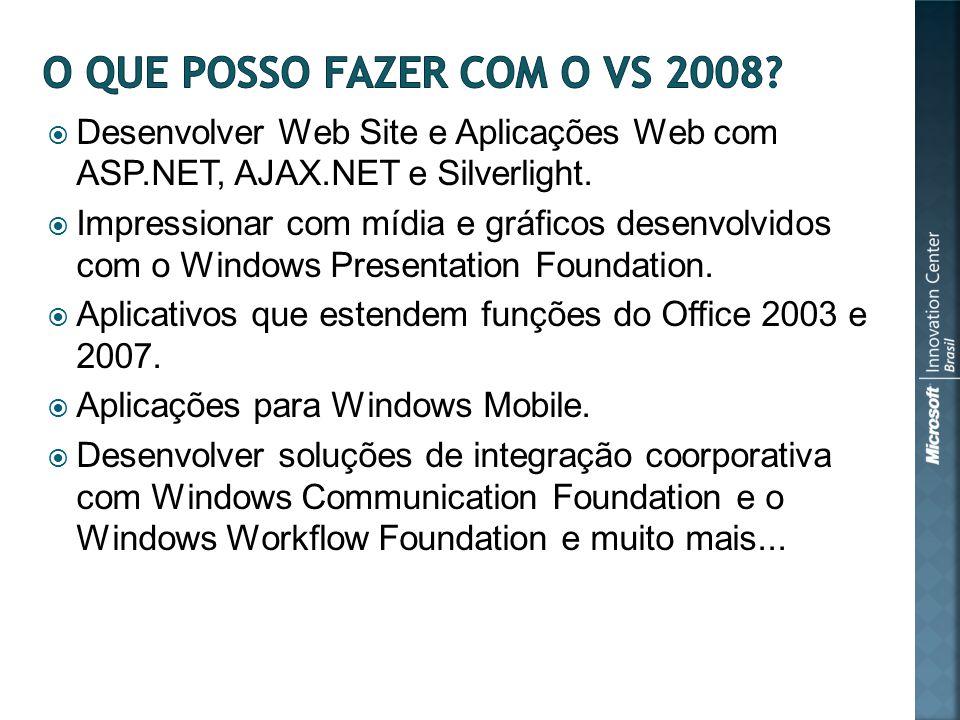 Desenvolver Web Site e Aplicações Web com ASP.NET, AJAX.NET e Silverlight.