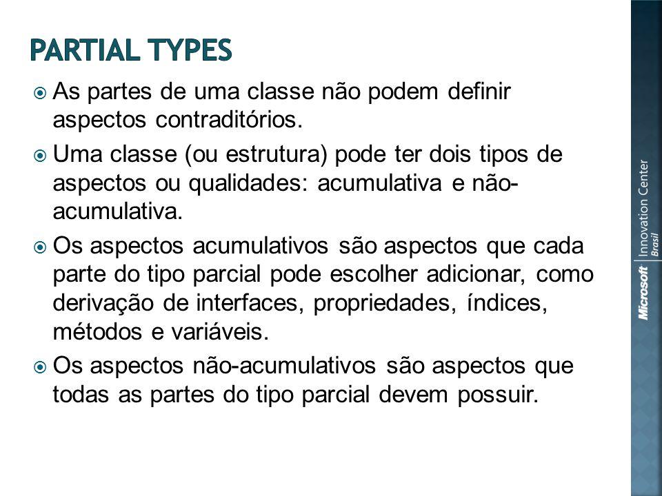 As partes de uma classe não podem definir aspectos contraditórios.