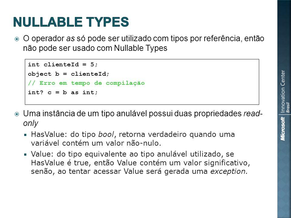 O operador as só pode ser utilizado com tipos por referência, então não pode ser usado com Nullable Types Uma instância de um tipo anulável possui duas propriedades read- only HasValue: do tipo bool, retorna verdadeiro quando uma variável contém um valor não-nulo.