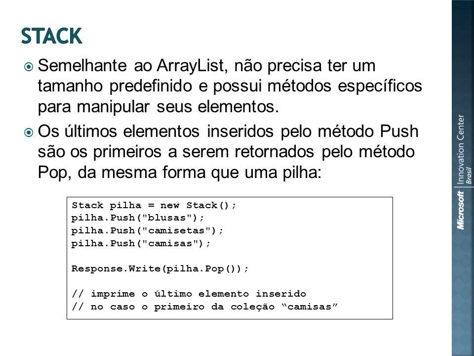 Semelhante ao ArrayList, não precisa ter um tamanho predefinido e possui métodos específicos para manipular seus elementos.