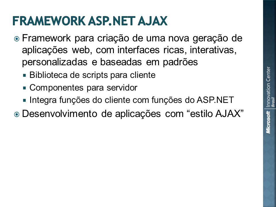 Framework para criação de uma nova geração de aplicações web, com interfaces ricas, interativas, personalizadas e baseadas em padrões Biblioteca de scripts para cliente Componentes para servidor Integra funções do cliente com funções do ASP.NET Desenvolvimento de aplicações com estilo AJAX