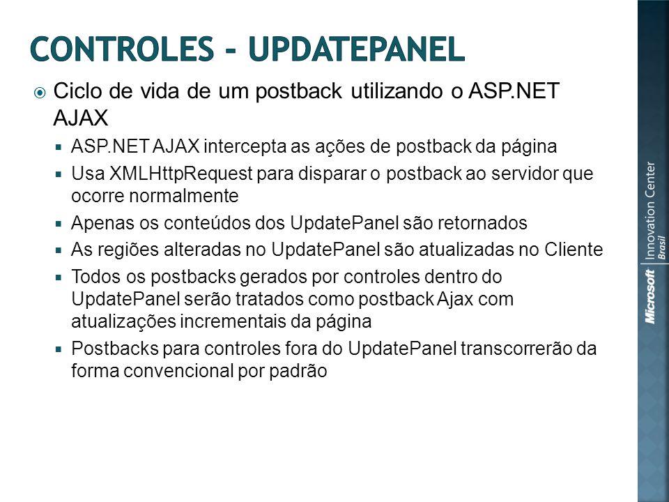 Ciclo de vida de um postback utilizando o ASP.NET AJAX ASP.NET AJAX intercepta as ações de postback da página Usa XMLHttpRequest para disparar o postback ao servidor que ocorre normalmente Apenas os conteúdos dos UpdatePanel são retornados As regiões alteradas no UpdatePanel são atualizadas no Cliente Todos os postbacks gerados por controles dentro do UpdatePanel serão tratados como postback Ajax com atualizações incrementais da página Postbacks para controles fora do UpdatePanel transcorrerão da forma convencional por padrão