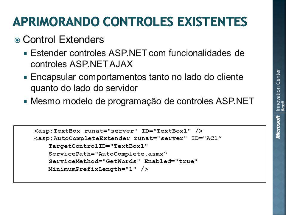 Control Extenders Estender controles ASP.NET com funcionalidades de controles ASP.NET AJAX Encapsular comportamentos tanto no lado do cliente quanto do lado do servidor Mesmo modelo de programação de controles ASP.NET <asp:AutoCompleteExtender runat= server ID= AC1 TargetControlID= TextBox1 ServicePath= AutoComplete.asmx ServiceMethod= GetWords Enabled= true MinimumPrefixLength= 1 />