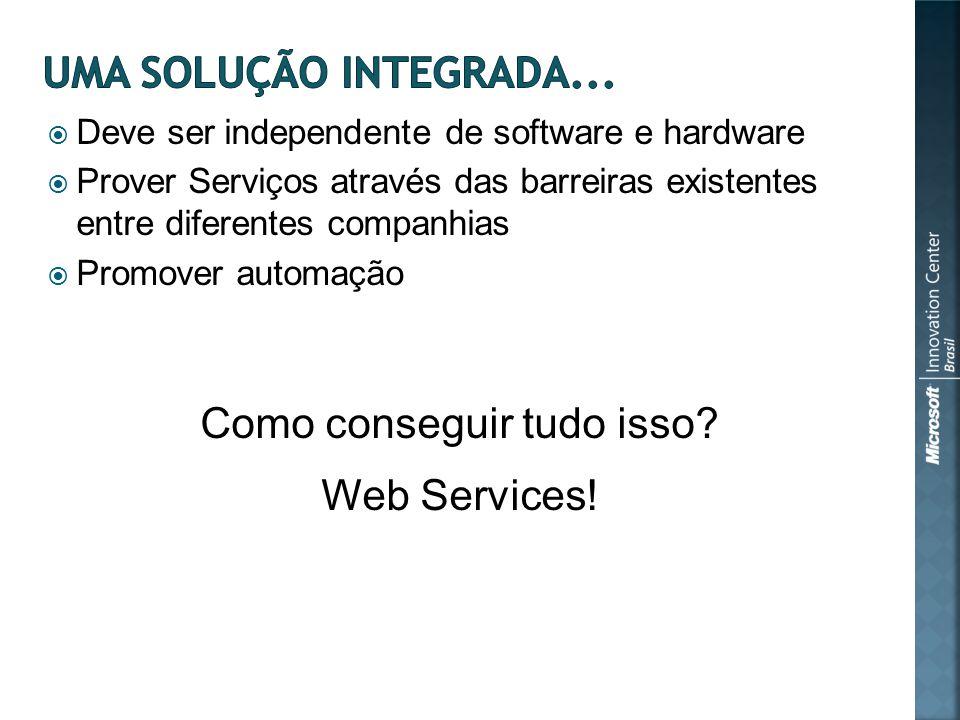 Deve ser independente de software e hardware Prover Serviços através das barreiras existentes entre diferentes companhias Promover automação Como conseguir tudo isso.