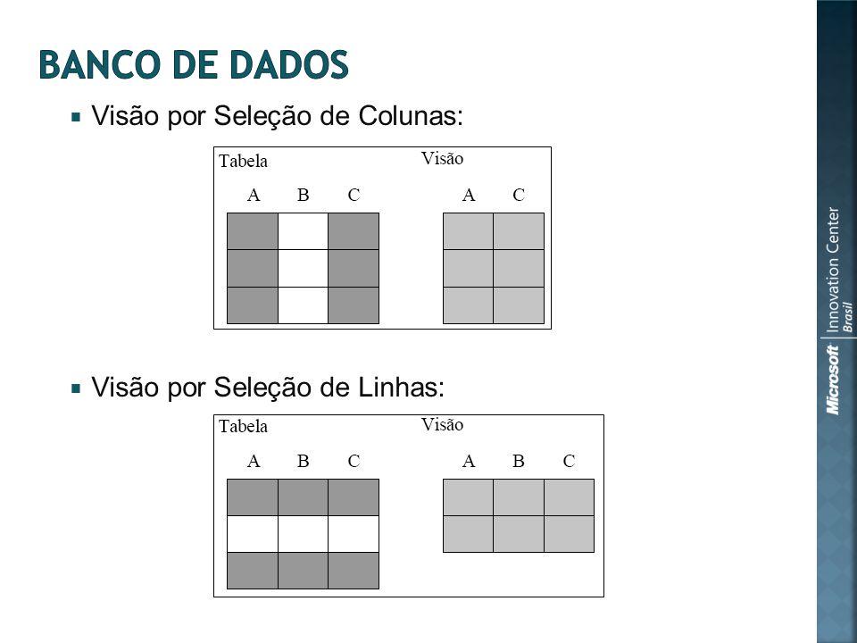 Visão por Seleção de Colunas: Visão por Seleção de Linhas: