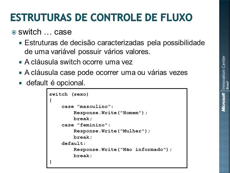 switch … case Estruturas de decisão caracterizadas pela possibilidade de uma variável possuir vários valores.