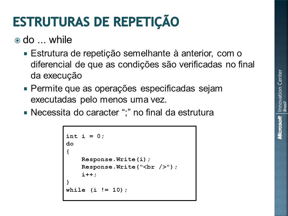 do... while Estrutura de repetição semelhante à anterior, com o diferencial de que as condições são verificadas no final da execução Permite que as op