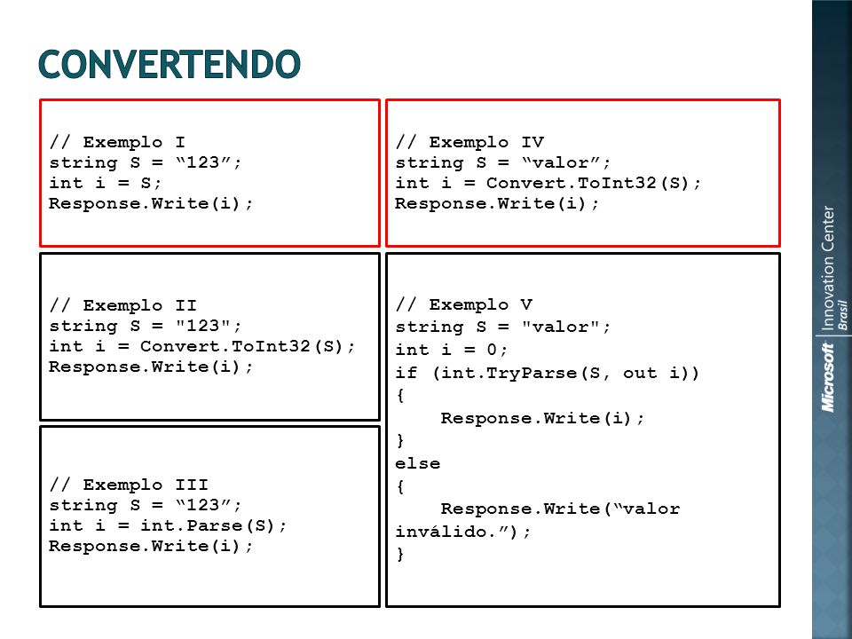 // Exemplo I string S = 123; int i = S; Response.Write(i); // Exemplo II string S = 123 ; int i = Convert.ToInt32(S); Response.Write(i); // Exemplo III string S = 123; int i = int.Parse(S); Response.Write(i); // Exemplo V string S = valor ; int i = 0; if (int.TryParse(S, out i)) { Response.Write(i); } else { Response.Write(valor inválido.); } // Exemplo IV string S = valor; int i = Convert.ToInt32(S); Response.Write(i);