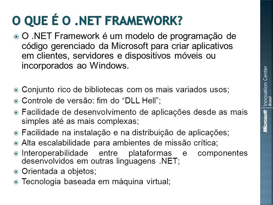 O.NET Framework é um modelo de programação de código gerenciado da Microsoft para criar aplicativos em clientes, servidores e dispositivos móveis ou incorporados ao Windows.