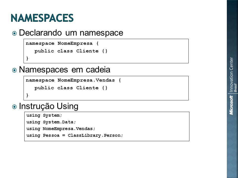 Declarando um namespace Namespaces em cadeia Instrução Using namespace NomeEmpresa.Vendas { public class Cliente {} } using System; using System.Data;