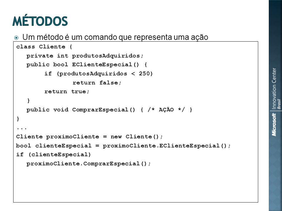 Um método é um comando que representa uma ação class Cliente { private int produtosAdquiridos; public bool EClienteEspecial() { if (produtosAdquiridos < 250) return false; return true; } public void ComprarEspecial() { /* AÇÃO */ } }...