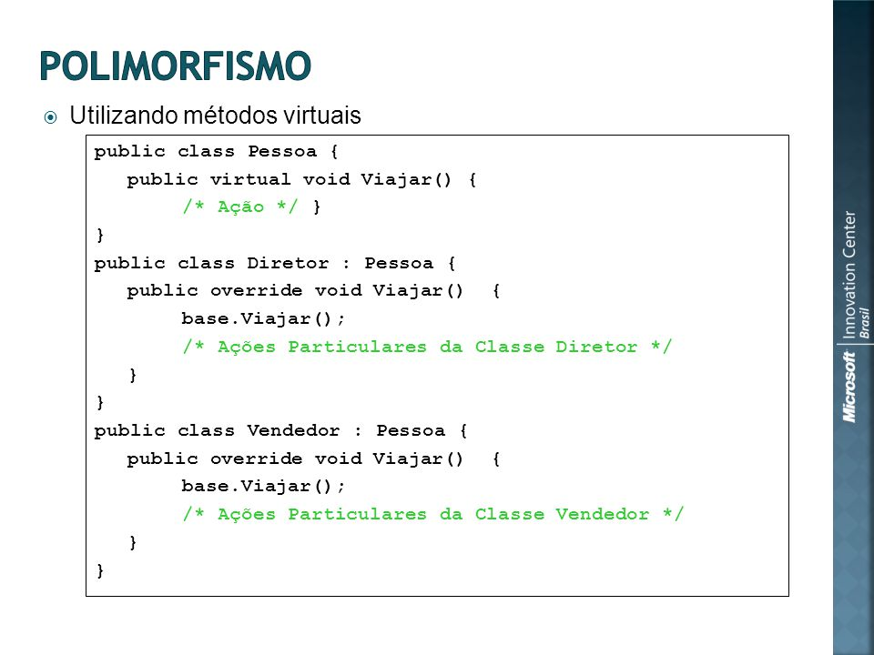 Utilizando métodos virtuais public class Pessoa { public virtual void Viajar() { /* Ação */ } } public class Diretor : Pessoa { public override void V