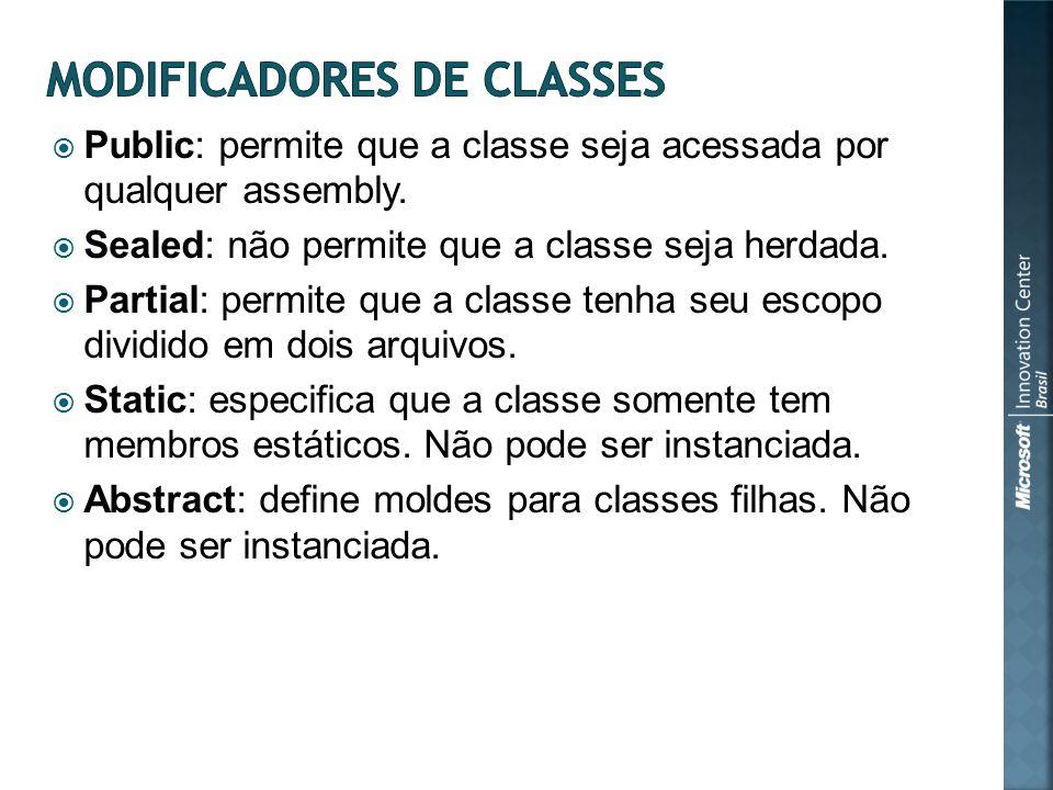 Public: permite que a classe seja acessada por qualquer assembly.