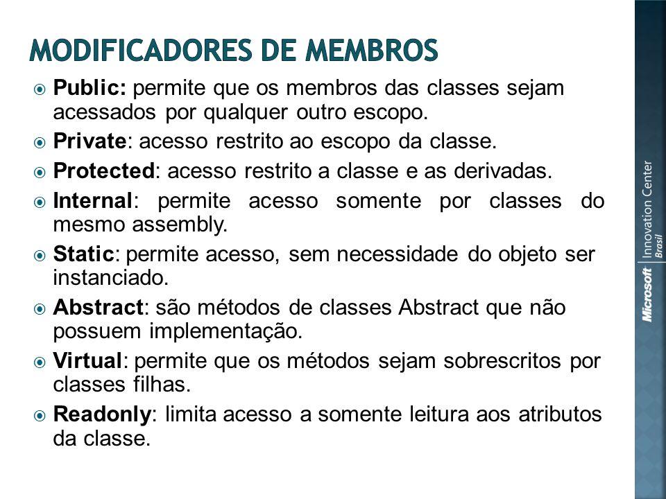 Public: permite que os membros das classes sejam acessados por qualquer outro escopo.