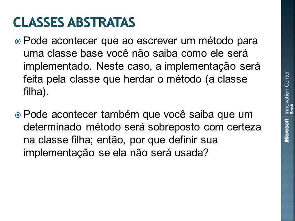 Pode acontecer que ao escrever um método para uma classe base você não saiba como ele será implementado.
