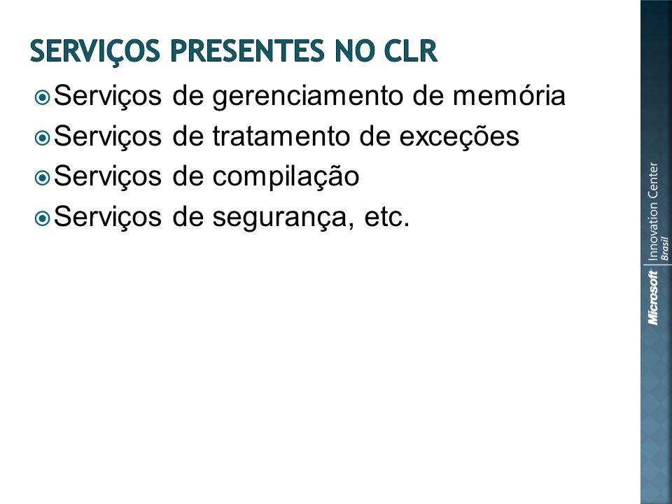 Serviços de gerenciamento de memória Serviços de tratamento de exceções Serviços de compilação Serviços de segurança, etc.
