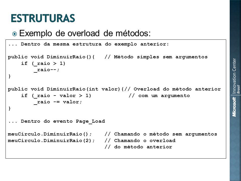 Exemplo de overload de métodos:... Dentro da mesma estrutura do exemplo anterior: public void DiminuirRaio(){// Método simples sem argumentos if (_rai