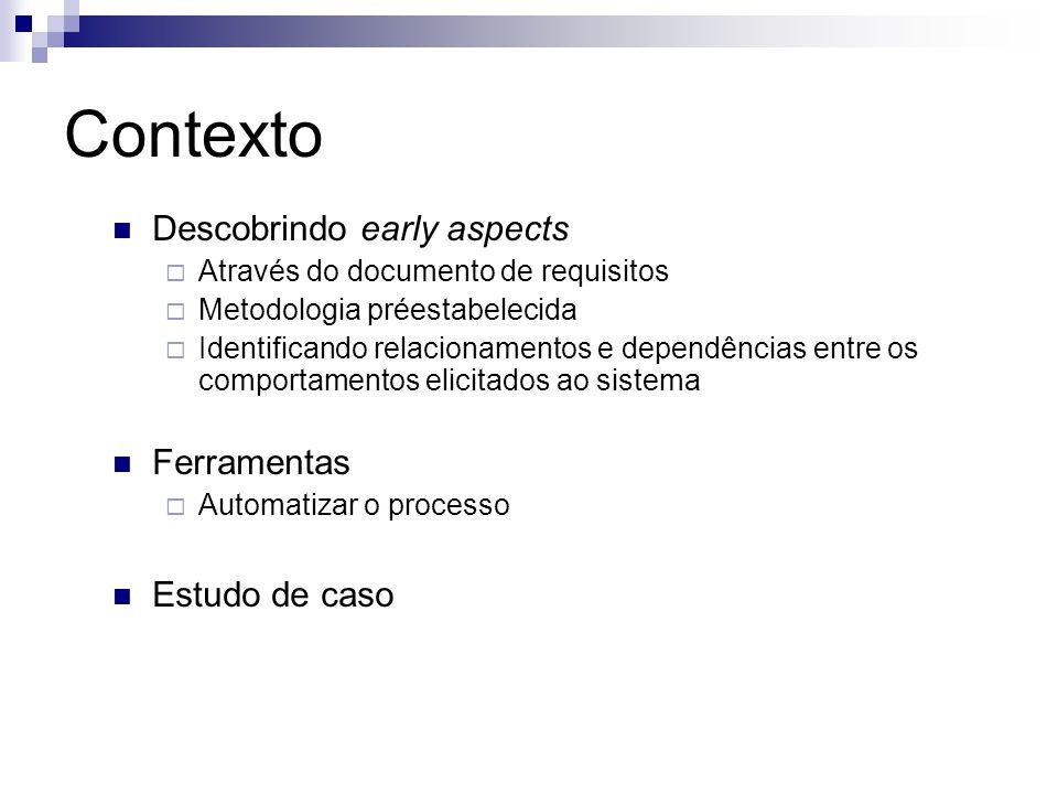 Contexto Descobrindo early aspects Através do documento de requisitos Metodologia préestabelecida Identificando relacionamentos e dependências entre os comportamentos elicitados ao sistema Ferramentas Automatizar o processo Estudo de caso