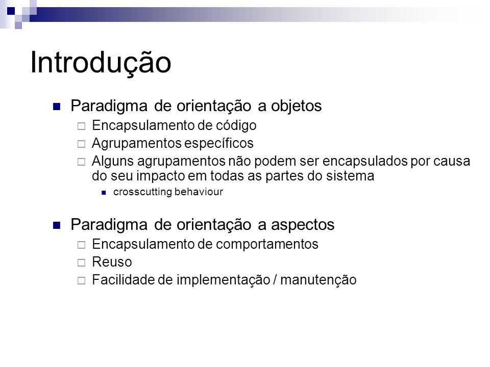 Introdução Paradigma de orientação a objetos Encapsulamento de código Agrupamentos específicos Alguns agrupamentos não podem ser encapsulados por causa do seu impacto em todas as partes do sistema crosscutting behaviour Paradigma de orientação a aspectos Encapsulamento de comportamentos Reuso Facilidade de implementação / manutenção