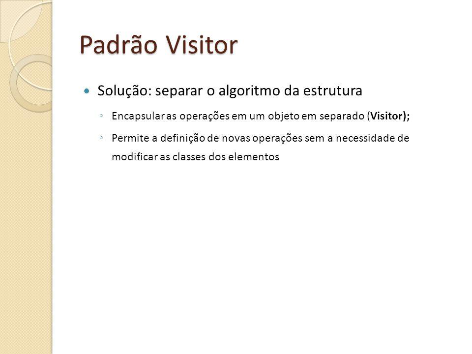 Padrão Visitor Solução: separar o algoritmo da estrutura Encapsular as operações em um objeto em separado (Visitor); Permite a definição de novas operações sem a necessidade de modificar as classes dos elementos