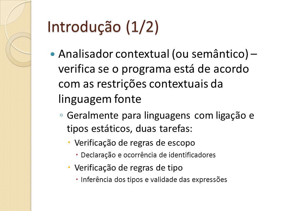 Introdução (1/2) Analisador contextual (ou semântico) – verifica se o programa está de acordo com as restrições contextuais da linguagem fonte Geralme