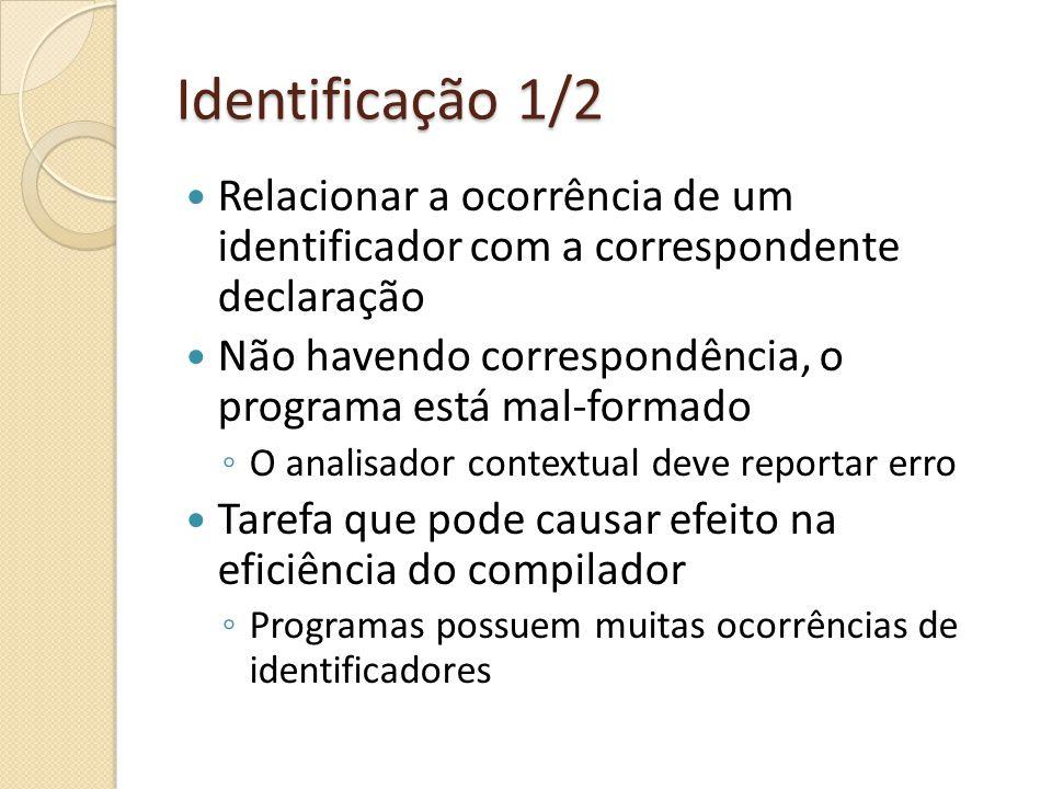 Identificação 2/2 Tabela de identificação (id table) Associar identificadores com seus atributos Atributos de identificadores são informações relevantes à análise contextual, e são obtidas da declaração do identificador Operações básicas numa id table: Limpar id table (fazê-la vazia) Adicionar uma entrada associando um dado identificador com um dado atributo Recuperar o atributo (se houver) associado a um dado identificador