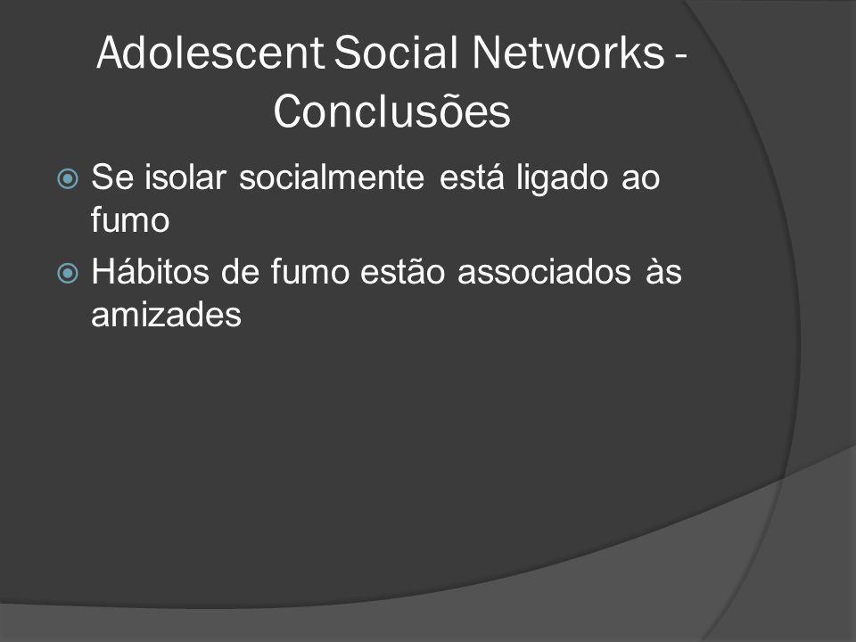 Adolescent Social Networks - Conclusões Se isolar socialmente está ligado ao fumo Hábitos de fumo estão associados às amizades