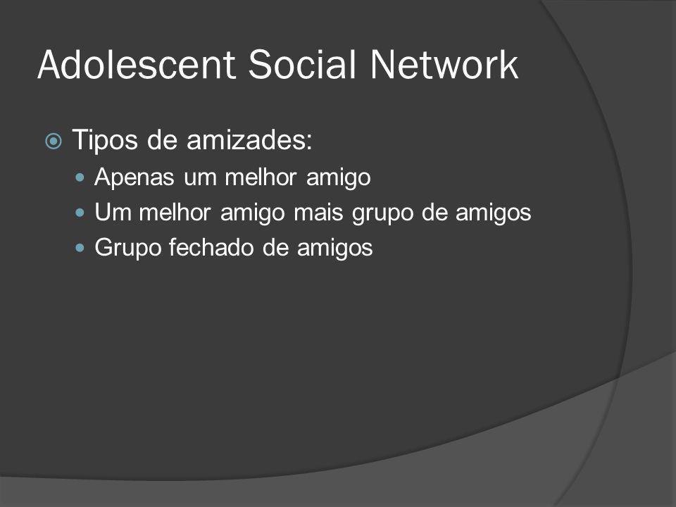 Social Network Characteristics Cliques têm de 3 a 10 integrantes Corrobora teorias (Brown – 1989, Coleman - 1981) Cliques Só garotos ou só garotas Só brancos ou só não brancos